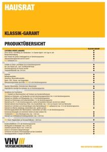 Produktübersicht - VHV Hausratversicherung